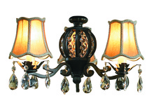 Craftmade ECK898AWD - Antoinette 3 Light Kit with Silk Shades and Crystals in Athenian Obol