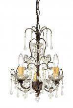 Crystorama 4523-DR - 3 Light Dark Rust Youth Mini Chandelier Draped In Murano Beads