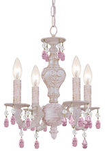 Crystorama 5024-AW-RO-MWP - Paris Market 4 Light Rose Crystal White Mini Chandelier