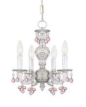 Crystorama 5224-AW-ROSA - Paris Market 4 Light Rosa Crystal White Mini Chandelier
