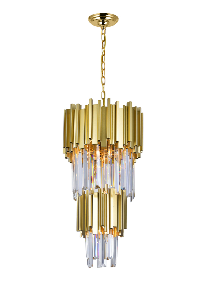4 Light Down Mini Chandelier with Medallion Gold Finish