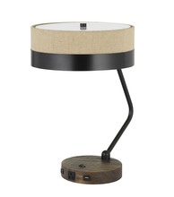 CAL Lighting BO-2758DK-BK - 60W X 2 Parson Metal/Wood Desk Lamp With Metal/Fabric Shade With 2 USB Ports