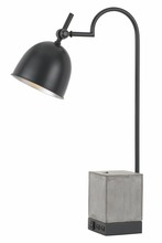 CAL Lighting BO-2770DK - 60W Beaumont Metal Desk Lamp With Cement Base, 1 Electrical Outlet And 2 USB Outlets