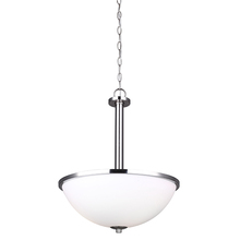 "Canarm ICH370A03BN16 - HAMPTON, ICH370A03BN16, 3 Lt 16"" Chain Chandelier, Line Painted Glass, 100W Type A, 16 1/2"""