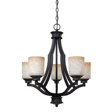 "Canarm ICH375A05RA - Warren, ICH375A05RA, 5 Lt Chandelier, Tea Stained Glass, 100W Type A, 22"" W x 24"" H"