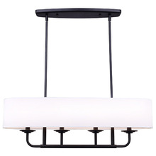 "Canarm ICH629A04BK32 - EASTBROOK, ICH629A04BK32, 4 Lt 15"" Rod Chandelier, MBK Color, White Shade, 60W Type C, 32"" W"