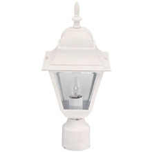 "Canarm IOL1311 - Outdoor, IOL13 WH, 1 Bulb Post Light, Clear Bevelled Glass, 100W Type A or B, 3 1/4"" Post"