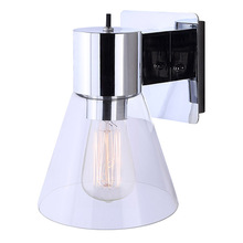 "Canarm IWF412B01CH - IWF412B01CH, 1 Lt Wall Fixture, Clear Glass,  60W Type A, Rotary Switch, 6 1/2"" W x 8 3/4"" H"