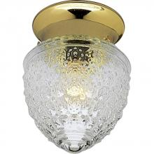 Progress P3750-10 - One Light Polished Brass Clear Patterned Glass Bowl Semi-Flush Mount