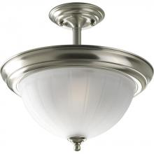 Progress P3876-09 - Two Light Brushed Nickel Etched Glass Bowl Semi-Flush Mount