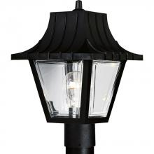 Progress P5414-31 - One Light Textured Black Clear Beveled Acrylic Glass Post Light