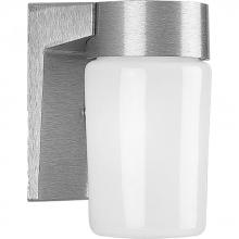 Progress P5511-16 - One Light Satin Aluminum White Opal Glass Outdoor Wall Light