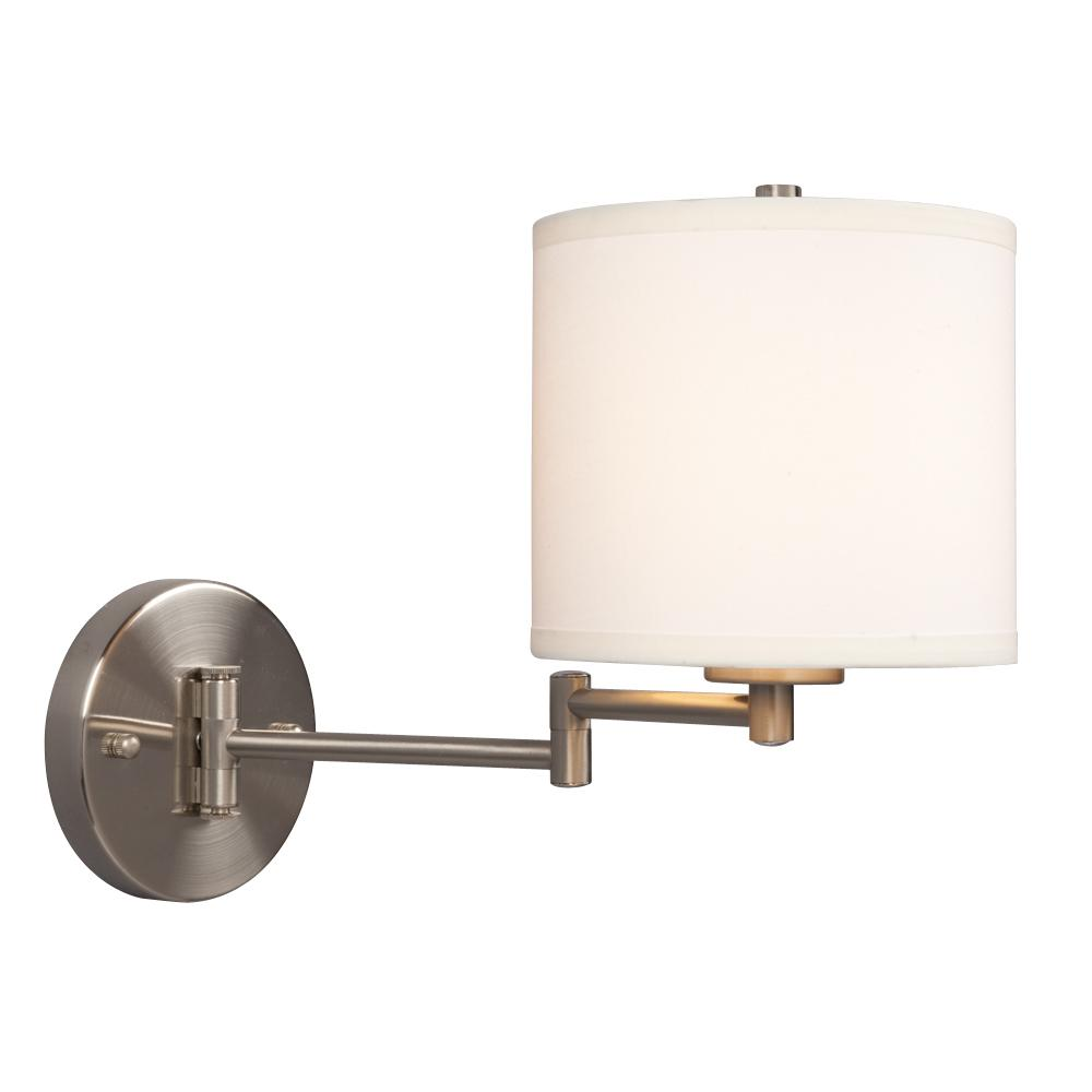 Wall Sconce w/ Swing Arm- Brushed Nickel with Off-White Linen Shade