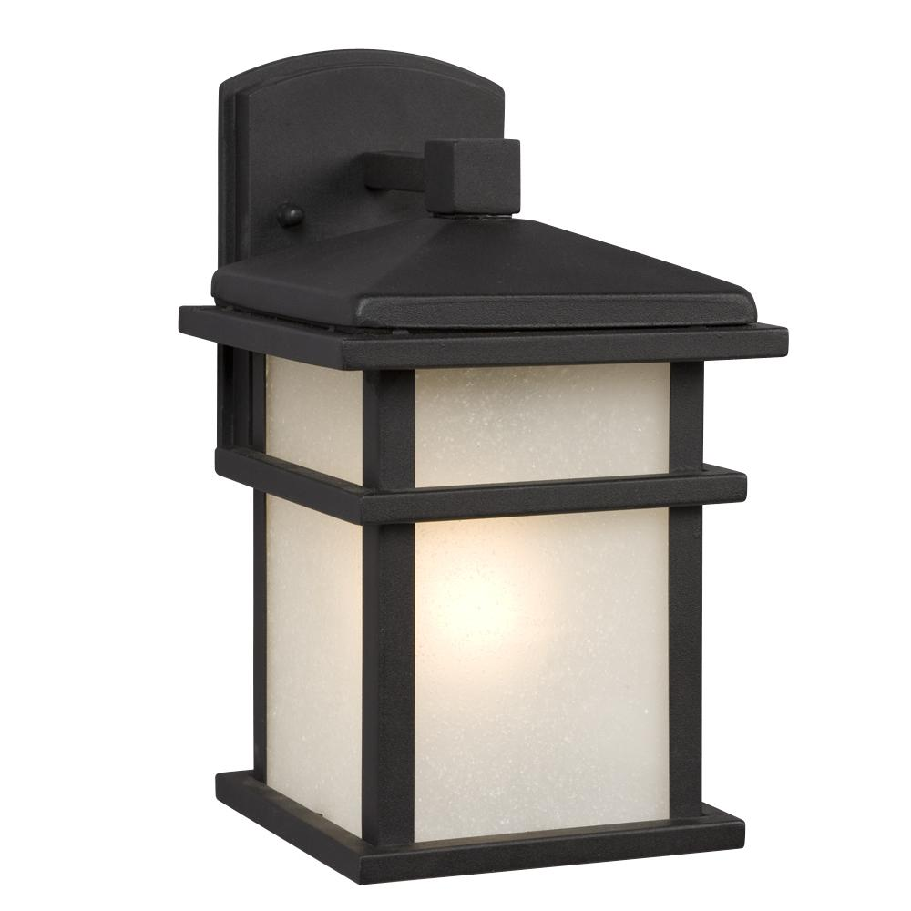 1-Light Outdoor Wall Mount Lantern - Black with Frosted Seeded Glass