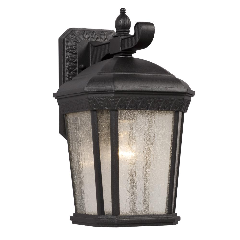 1-Light Outdoor Wall Mount Lantern - Black With Clear Seeded Glass