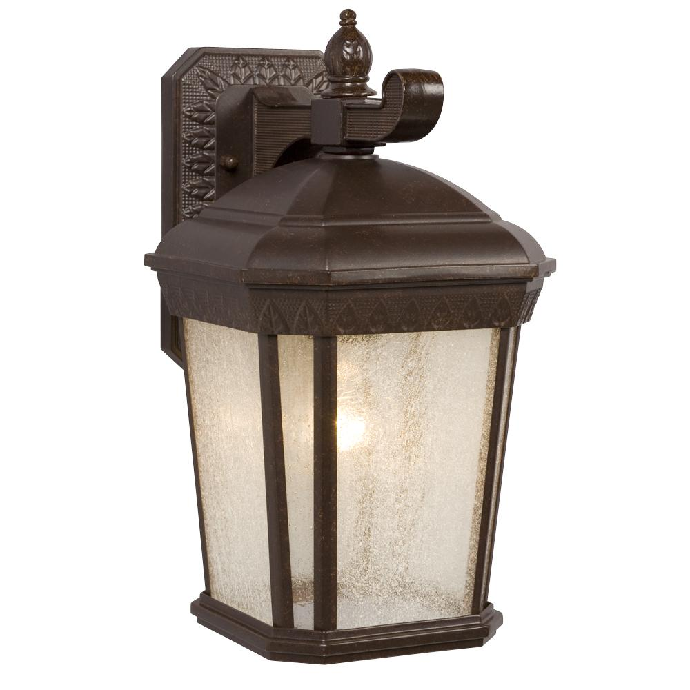 1-Light Outdoor Wall Mount Lantern - Bronze with Clear Seeded Glass