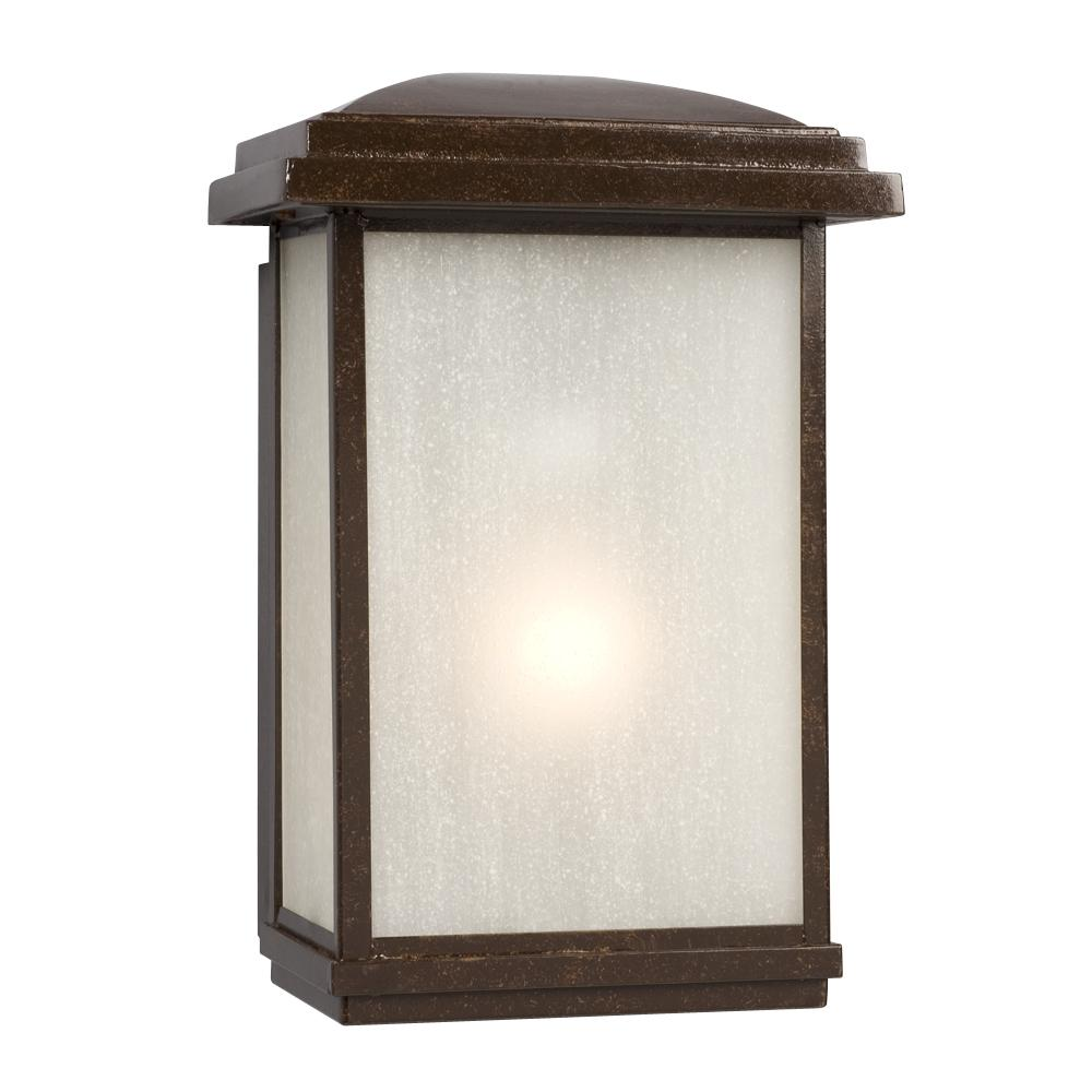 1-Light Outdoor Wall Mount Lantern - Bronze with Frosted Seeded Glass