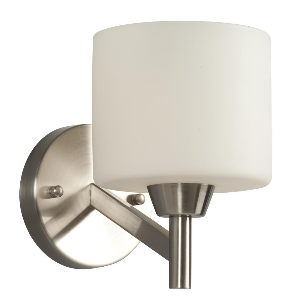 Single Light Vanity - Brushed Nickel With Satin White Glass