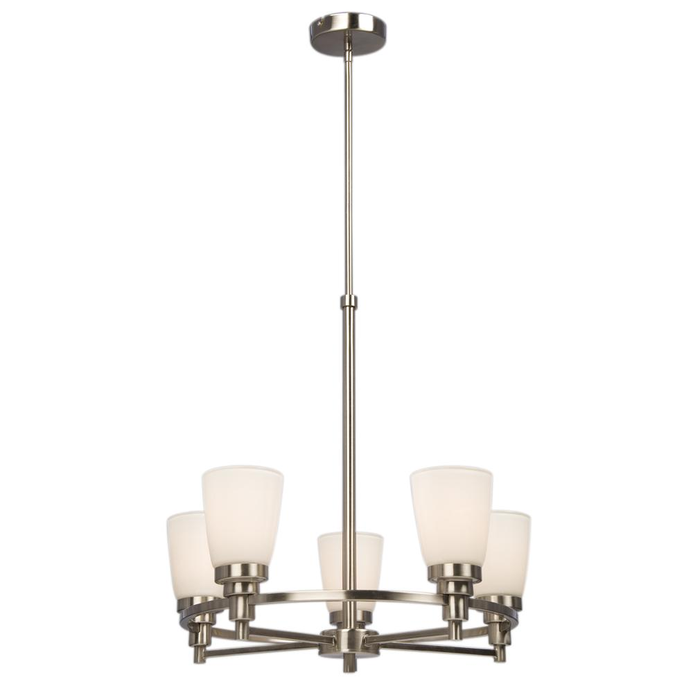 "Five Light Chandelier w/6"",12"",18"" Extension Rods - Brushed Nickel w/ White Opal Glass"