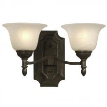 Galaxy Lighting 221621MBZ - Two Light Wall Bracket - Medieval Bronze w/ Marbled Glass