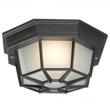 Galaxy Lighting 301401 BLK - Outdoor Cast Aluminum Ceiling Fixture - Black w/ Frosted Glass