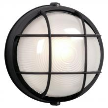 Galaxy Lighting 305011BK 113EB - Outdoor Cast Aluminum Marine Light with Guard - in Black finish with Frosted Glass (Wall or Ceiling