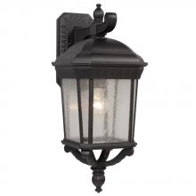 Galaxy Lighting 320370BK - 1-Light Outdoor Wall Mount Lantern - Black with Clear Seeded Glass