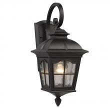 Galaxy Lighting 320386BK - 1-Light Outdoor Wall Mount Lantern - Black with Clear Water Glass