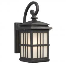Galaxy Lighting 320440BK - 1-Light Outdoor Wall Mount Lantern - Black with Frosted Seeded Glass