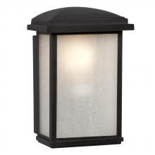 Galaxy Lighting 320490BK - 1-Light Outdoor Wall Mount Lantern - Black with Frosted Seeded Glass