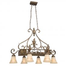Galaxy Lighting 800265ARB - Six Light Island Light / Pot Rack- Aged Rubbed Bronze W/ Amber Scavo Glass