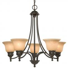 Galaxy Lighting 800805DBC - Five Light Chandelier - Dark Brown Copper with Tea Stain Marbled Glass