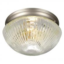 Galaxy Lighting 810110PT - Flush Mount - Pewter w/ Clear Ribbed Glass