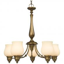 Galaxy Lighting 810293PAB - Five Light Chandelier - Parisian Antique Brass with Satin White Glass