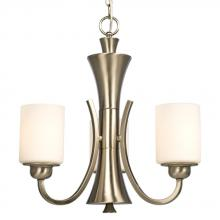 Galaxy Lighting 810341BN - Three Light Chandelier - Brushed Nickel with White Glass