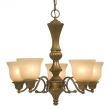 Galaxy Lighting 810483PAB - Five Light Chandelier - Parisian Antique Brass with Light Tea Stain Glass