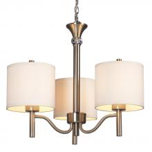 Galaxy Lighting 813041BN - 3-Light Chandelier - Brushed Nickel With Off-White Linen Shades