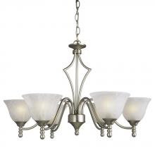 Galaxy Lighting 816706PT - Six Light Chandelier - Pewter w/ Marbled Glass
