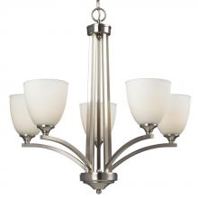 Galaxy Lighting 818743BN - 5-Light Chandelier In Brushed Nickel With Satin White Glass
