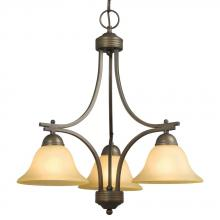 Galaxy Lighting 851383ORB/TS - Three Light Chandelier - Oiled Rubbed Bronze w/ Tea Stain Glass
