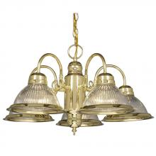 Galaxy Lighting 851904PB/CL - Five Light Chandelier - Polished Brass w/ Clear Ribbed Glass