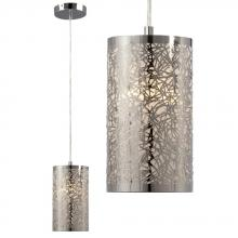 Galaxy Lighting 912794CH - Mini-Pendant in Polished Chrome - Laser-Cut Metal Shade with Glitter Background