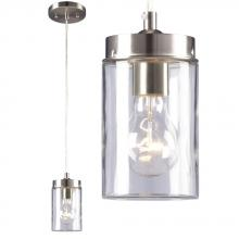 Galaxy Lighting 919854BN - 1-Light Mini-Pendant - In Brushed Nickel Finish With Clear Glass Shade