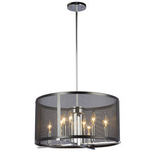 "Galaxy Lighting 922790CH/BK - Pendant Fixture with Black Mesh Shade(6"", 12"" & 18"" Extension Rods Included)"
