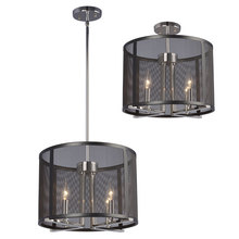 "Galaxy Lighting 922796CH/BK - Pendant or Semi-Flush Mount Fixture with Black Mesh Shade(6"", 12"" & 18"" Extension Rods I"