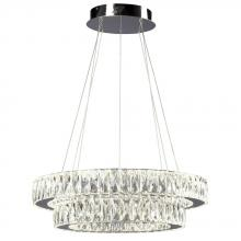 Galaxy Lighting L919605CH - Led 2-Tier Crystal Ring Pendant - In Polished Chrome Finish With Clear K9 Crystals (Dimmable, 4000K)