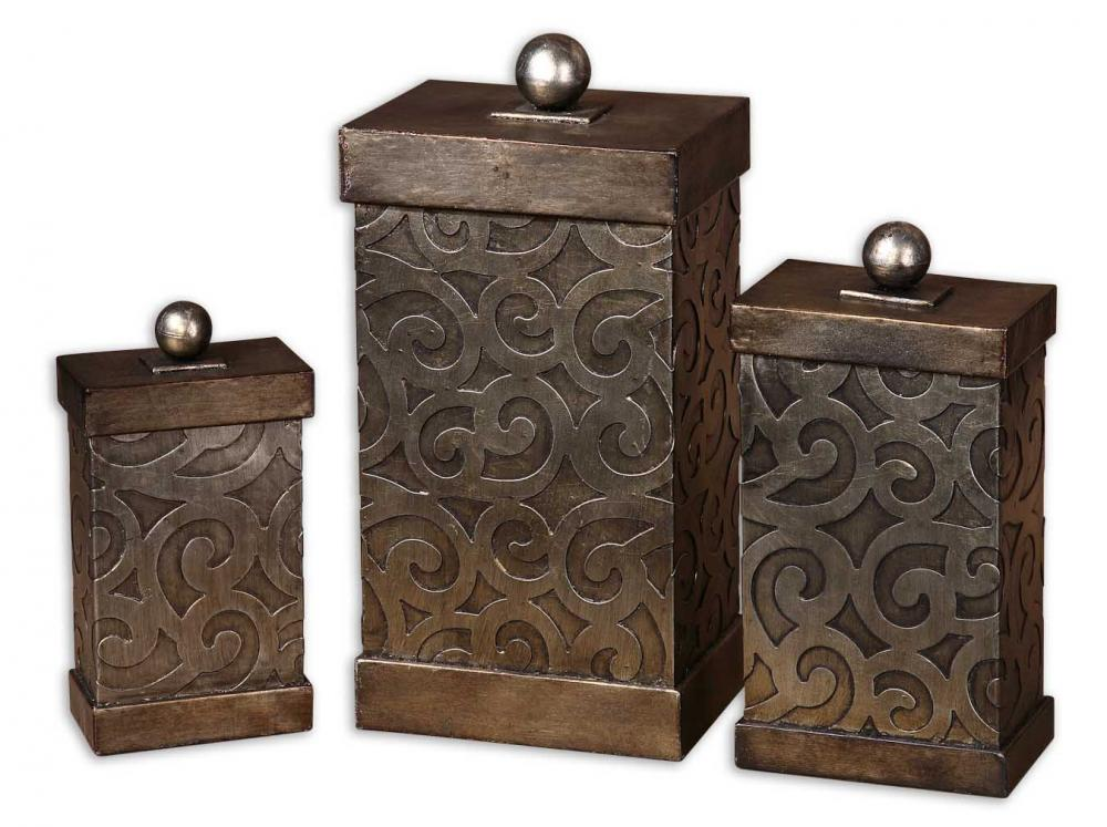 Uttermost Nera Metal Decorative Boxes, Set/3